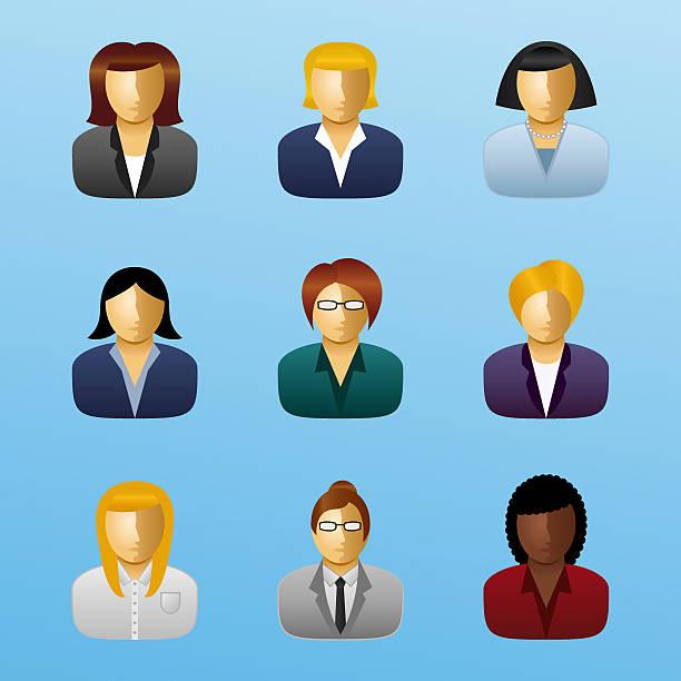 ilustraciones, imágenes clip art, dibujos animados e iconos de stock de icono de gente de negocios-mujer de negocios - gerente de cuentas