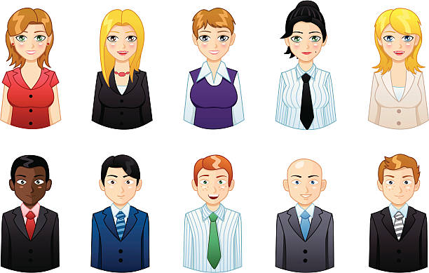 business people icons set 5 - redhead stock illustrations, clip art, cartoons, & icons