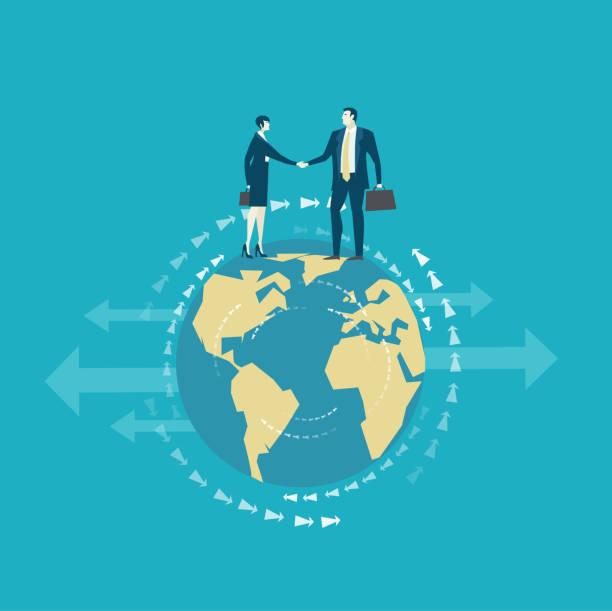 stockillustraties, clipart, cartoons en iconen met zakenmensen schudden de handen als een symbool van globalisering en een teamwerk. - dubbelopname businessman
