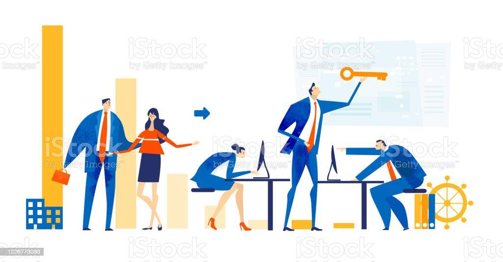 Zakenmensen die samenwerken op kantoor, data analyseren, onderhandelen, de problemen oplossen, een project ondersteunen en vooruitgang boeken in het bedrijfsleven. De illustratie van het bedrijfsconcept. - Royalty-free Abstract Stockillustraties