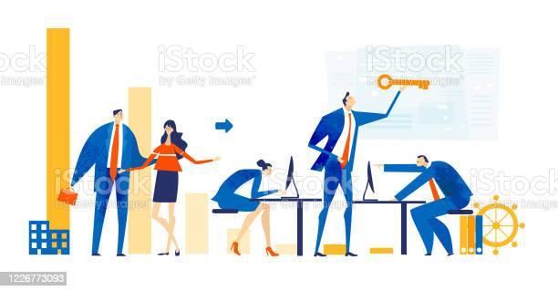 Zakenmensen Die Samenwerken Op Kantoor Data Analyseren Onderhandelen De Problemen Oplossen Een Project Ondersteunen En Vooruitgang Boeken In Het Bedrijfsleven De Illustratie Van Het Bedrijfsconcept Stockvectorkunst en meer beelden van Abstract