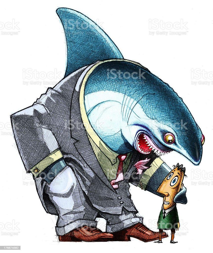 Business shark vector art illustration