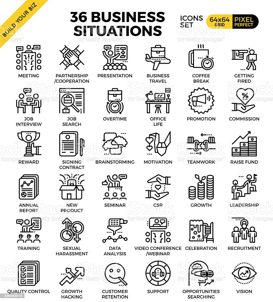 Business situation icons vector art illustration