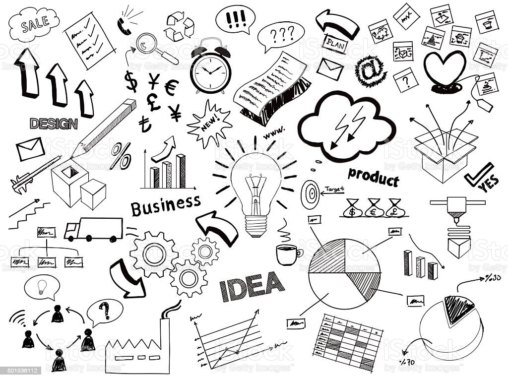 Business sketch doodles vector art illustration