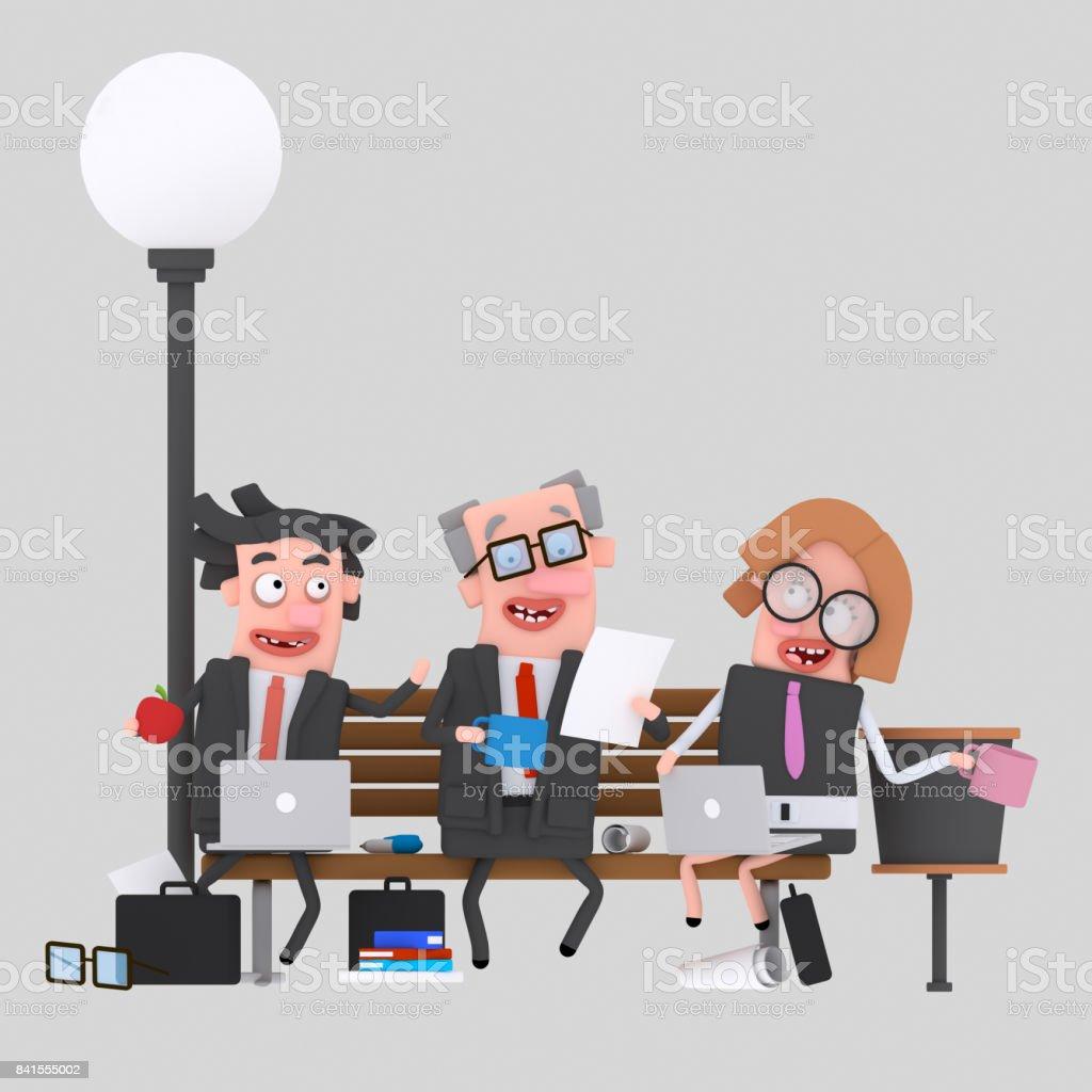 Trabajo en equipo negocios almorzando en un banco del parque - ilustración de arte vectorial