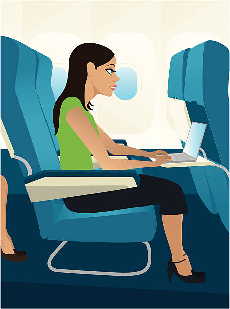 business trip - airplane seat stock illustrations
