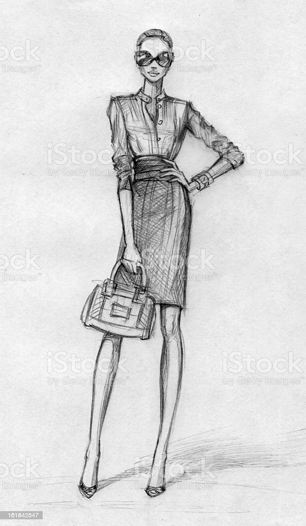 Business woman (black-and-white) vector art illustration