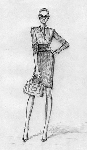 business woman (black-and-white) - womens fashion stock illustrations, clip art, cartoons, & icons