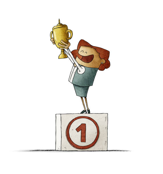 Business woman on a podium with the number one lifts a trophy with her hands. isolated vector art illustration