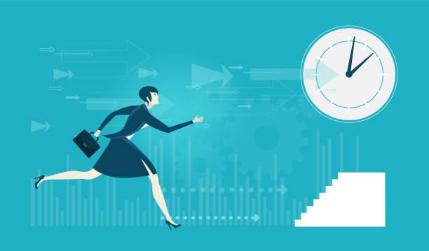 ビジネスの女性は、会議を実行します。忙しい現代の生活の概念図 - 出勤点のイラスト素材/クリップアート素材/マンガ素材/アイコン素材