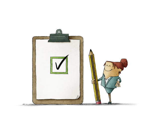 Business woman with a giant pencil in her hand next to a clipboard with checklist. Successful completion of business tasks. isolated vector art illustration