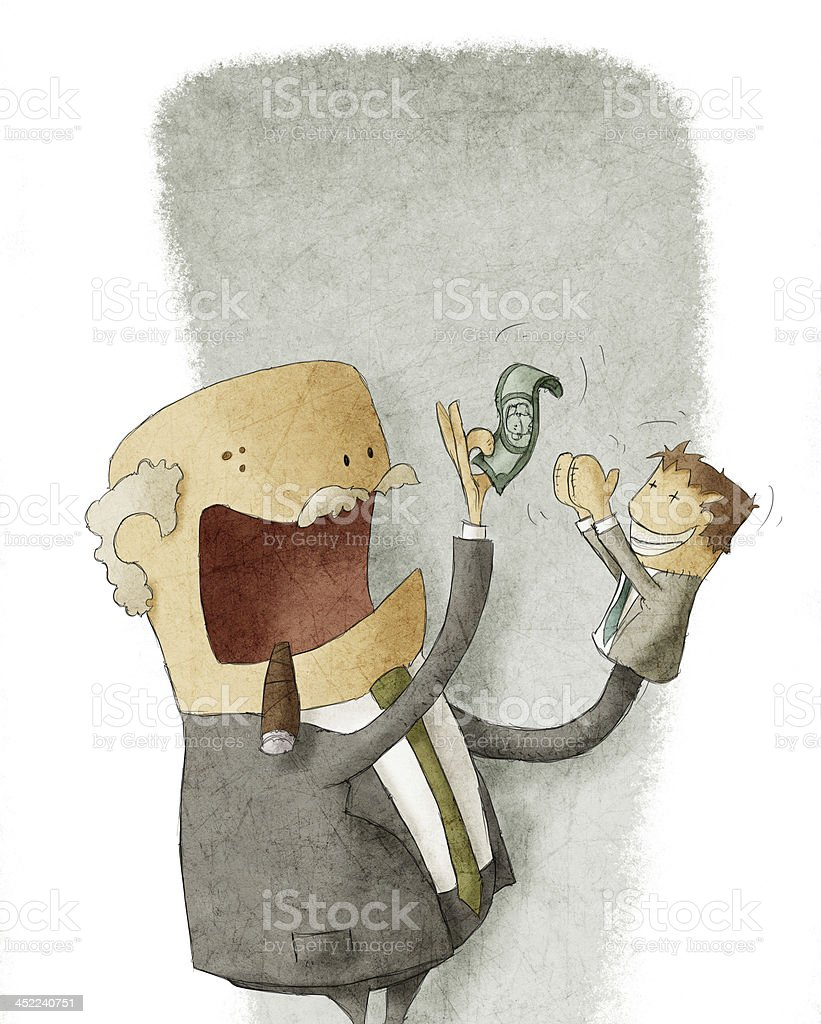 businessman and employed hand puppet royalty-free stock vector art
