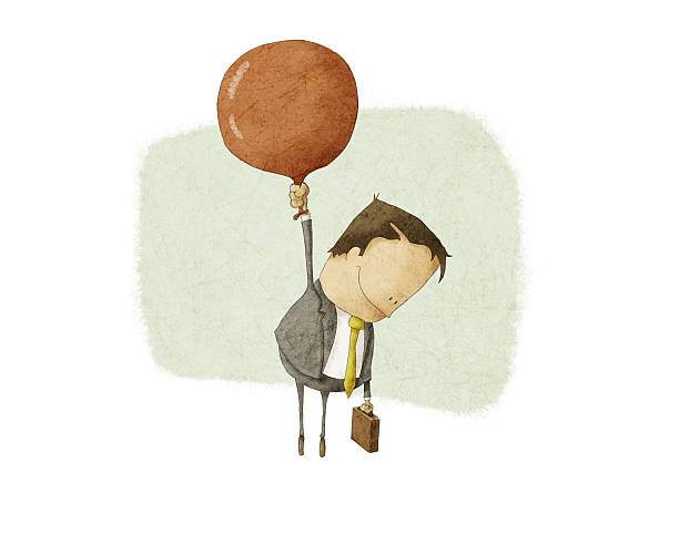 businessman ascend with a Red Balloon vector art illustration