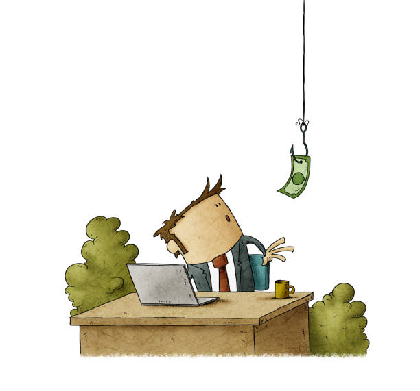 Businessman at his desk looks surprised at a dollar bill on a hook that hangs from the ceiling. isolated vector art illustration