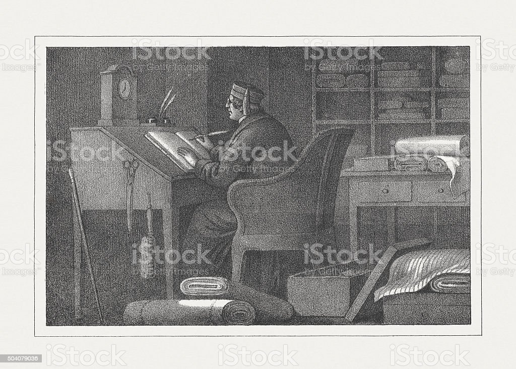 Businessman at inventory in the past, lithograph, published in 1850 vector art illustration