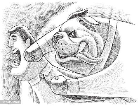 businessman bulldog punching colleague sketch