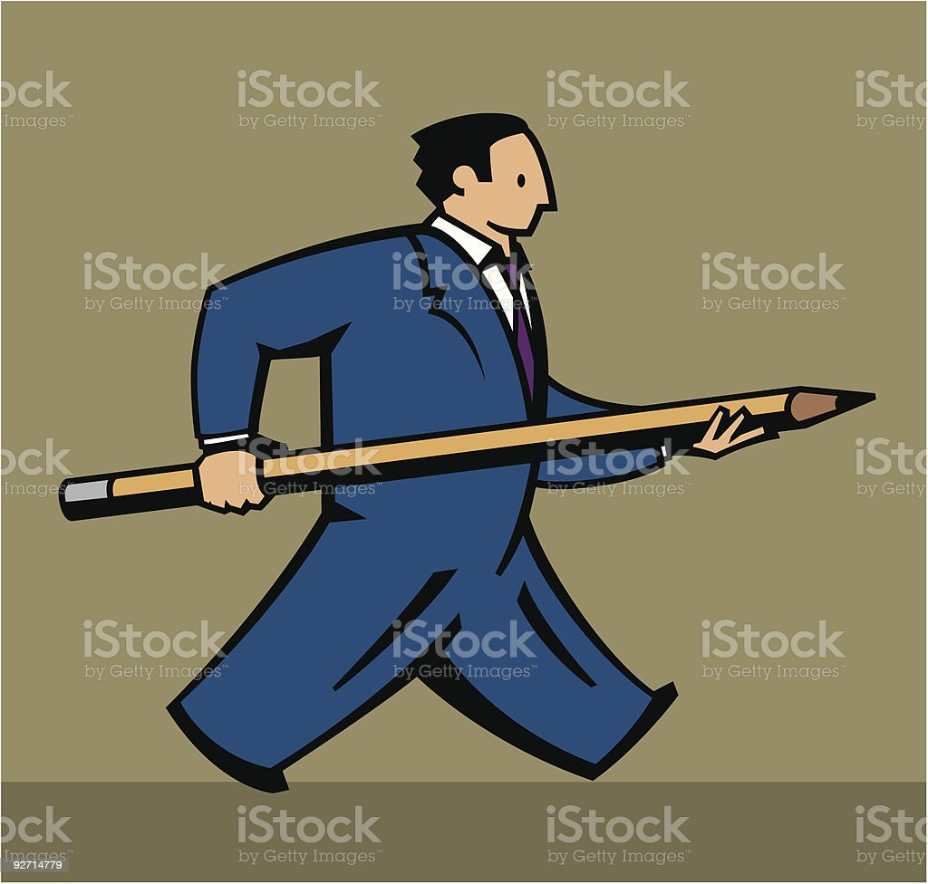 Businessman Carrying Pencil royalty-free stock vector art