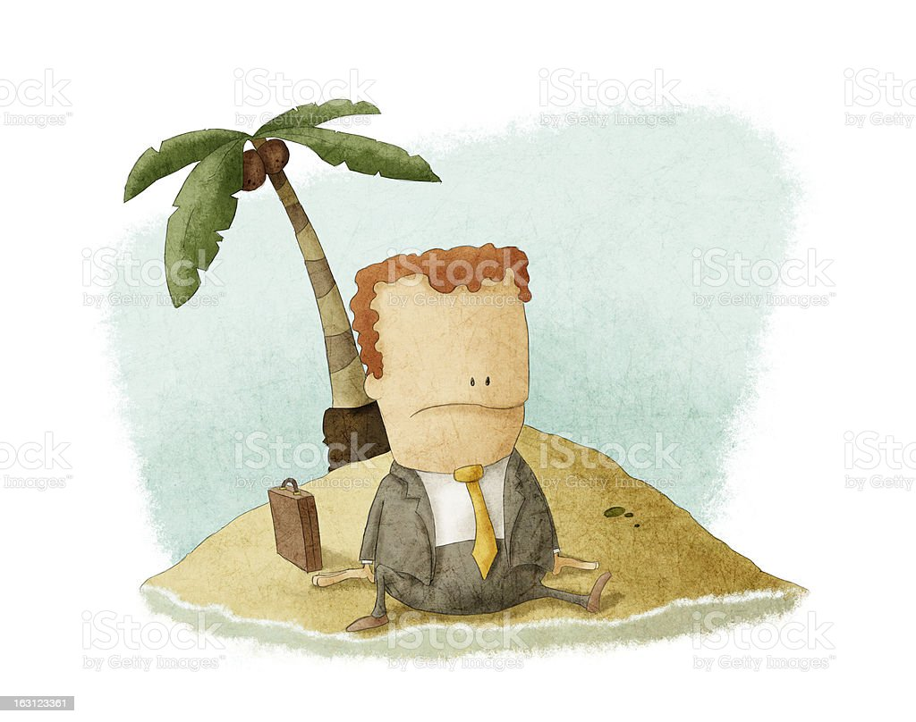 businessman castaway on island royalty-free stock vector art