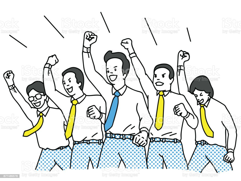 Businessman cheering and riasing fist in the air vector art illustration