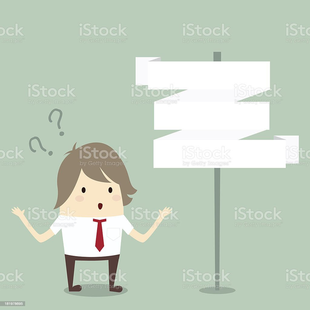 businessman confused to choose choice, business concept royalty-free stock vector art