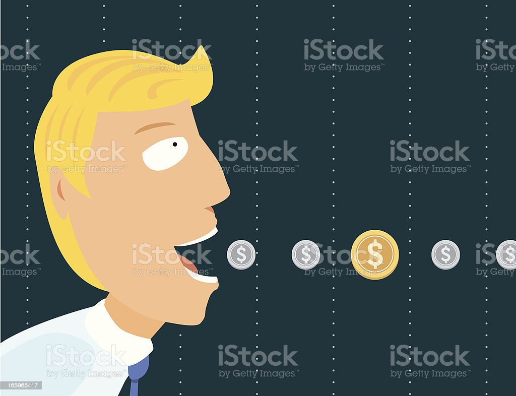 Businessman eating coins vector art illustration