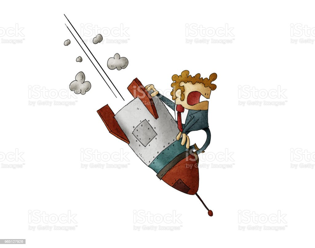 Businessman falling down on top of a rocket. isolated royalty-free businessman falling down on top of a rocket isolated stock vector art & more images of adult