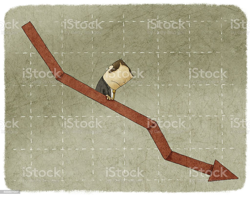 businessman going down in arrow vector art illustration