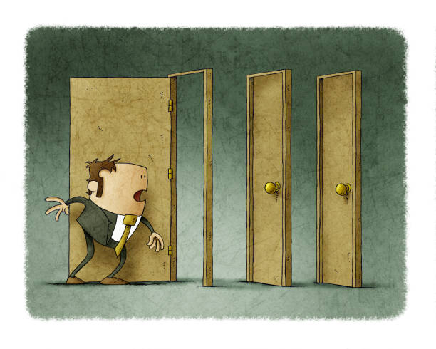 Businessman has been able to open a door but the next two are closed. vector art illustration