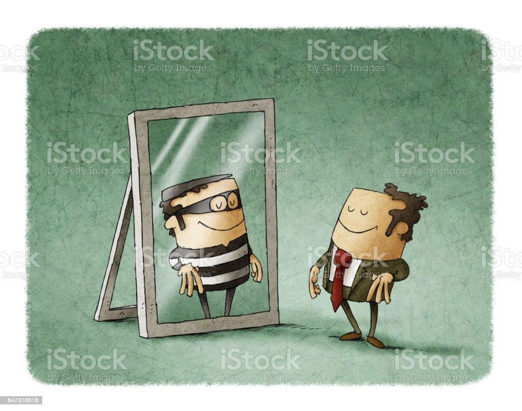 ビジネスマンは、ミラーで泥棒として反映されています。 ベクターアートイラスト