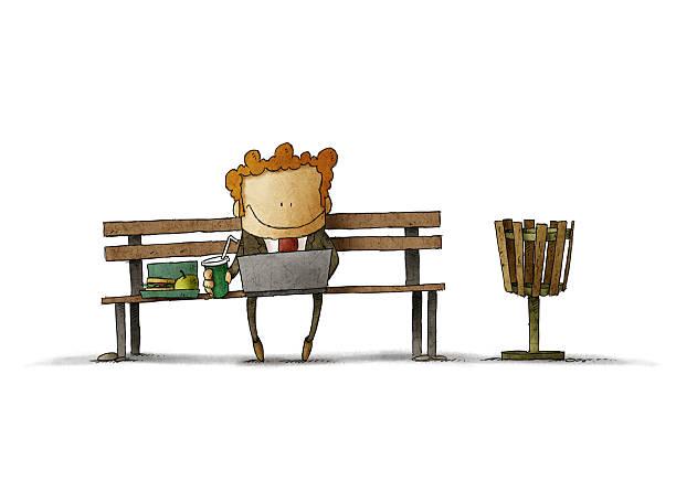 businessman having lunch on a park bench vector art illustration