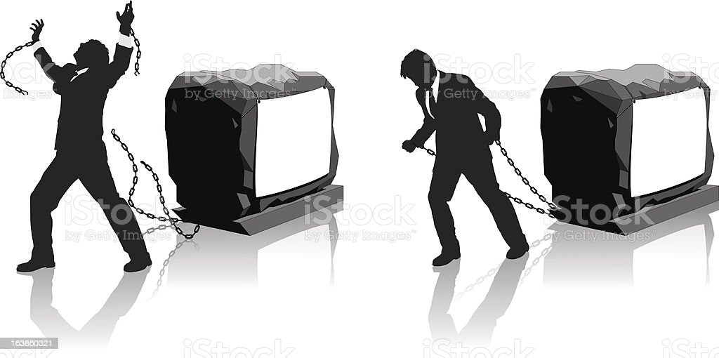 A Businessman is held back and then breaks chains to gain freedom : Illustration : Istockphoto