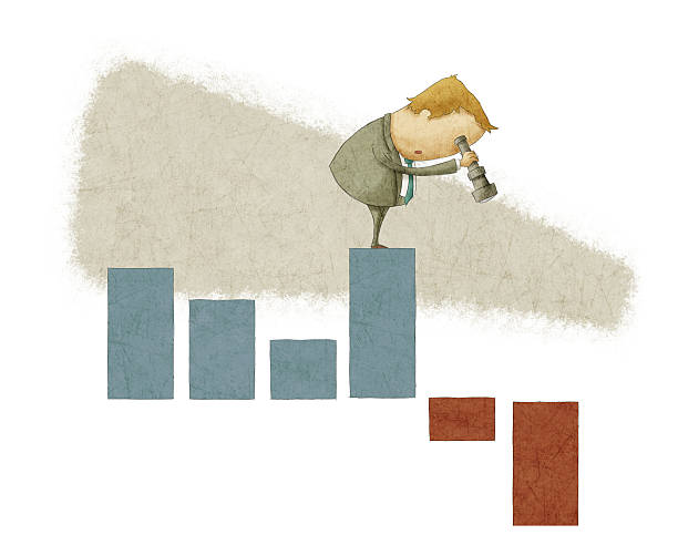 Businessman in a suit standing on a bar chart with telescope businessman using  telescope on a bar chart depreciation stock illustrations