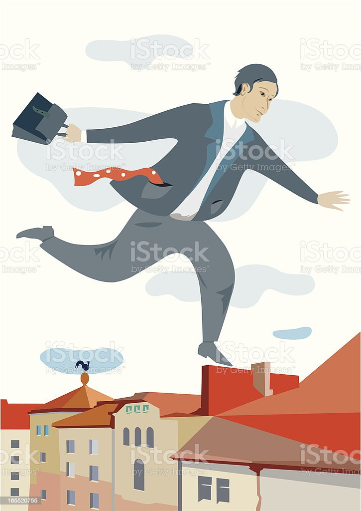 Businessman in road to work royalty-free stock vector art