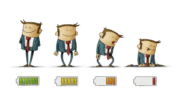 businessman in suit with battery indicator to show his energy level, from fully charged to discharged, isolated vector art illustration