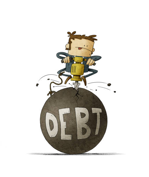 businessman is breaking with a machine a huge ball in which the word debt is written. isolated vector art illustration