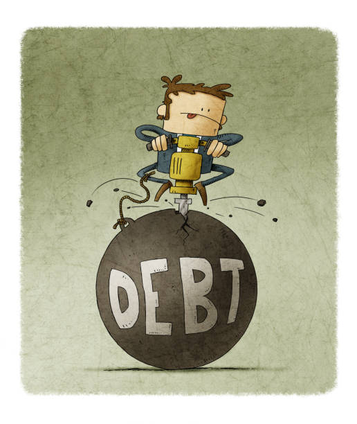 businessman is breaking with a machine a huge ball in which the word debt is written vector art illustration
