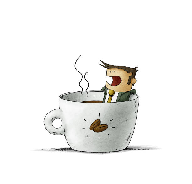 businessman is taking a bath inside a cup of coffee. isolated vector art illustration