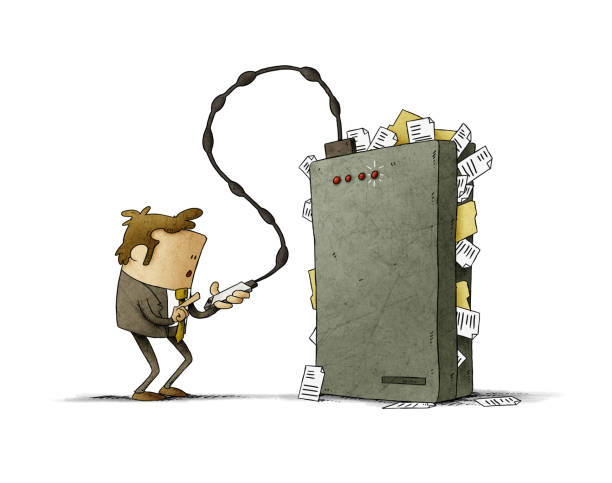 Businessman is transferring files from his mobile to a hard drive that is very full. isolated vector art illustration
