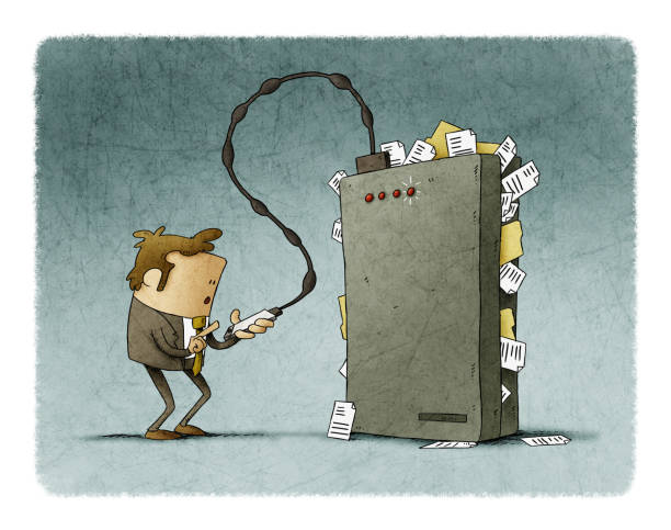 Businessman is transferring files from his mobile to a hard drive that is very full. vector art illustration