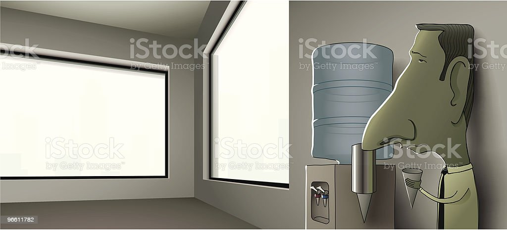 Businessman Leaning Against Wall of Empty Office at Water Cooler - Royalty-free Adult stock vector