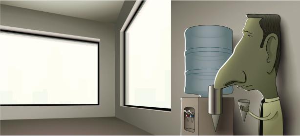 Businessman Leaning Against Wall Of Empty Office At Water Cooler Stockvectorkunst en meer beelden van Afbeelding