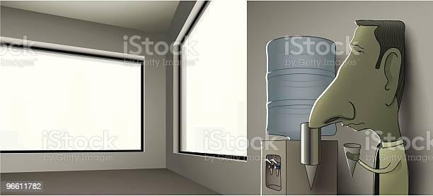 Businessman Leaning Against Wall Of Empty Office At Water Cooler-vektorgrafik och fler bilder på Affärsman