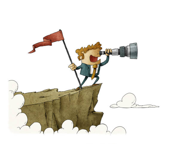 businessman  on  a mountain with a flag and looking into the telescope. isolated. vector art illustration