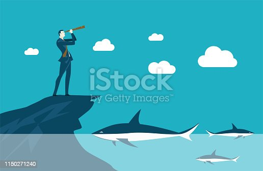 Businessman on top of the mountain looking with the telescope and big shark in the deep see water just below. Risk and business danger situations concept