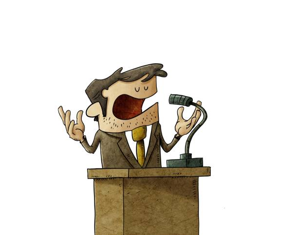 businessman or politician is giving a campaign speech, he is serene and calm. isolated vector art illustration