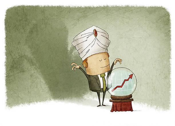 businessman predicting the future of finance vector art illustration