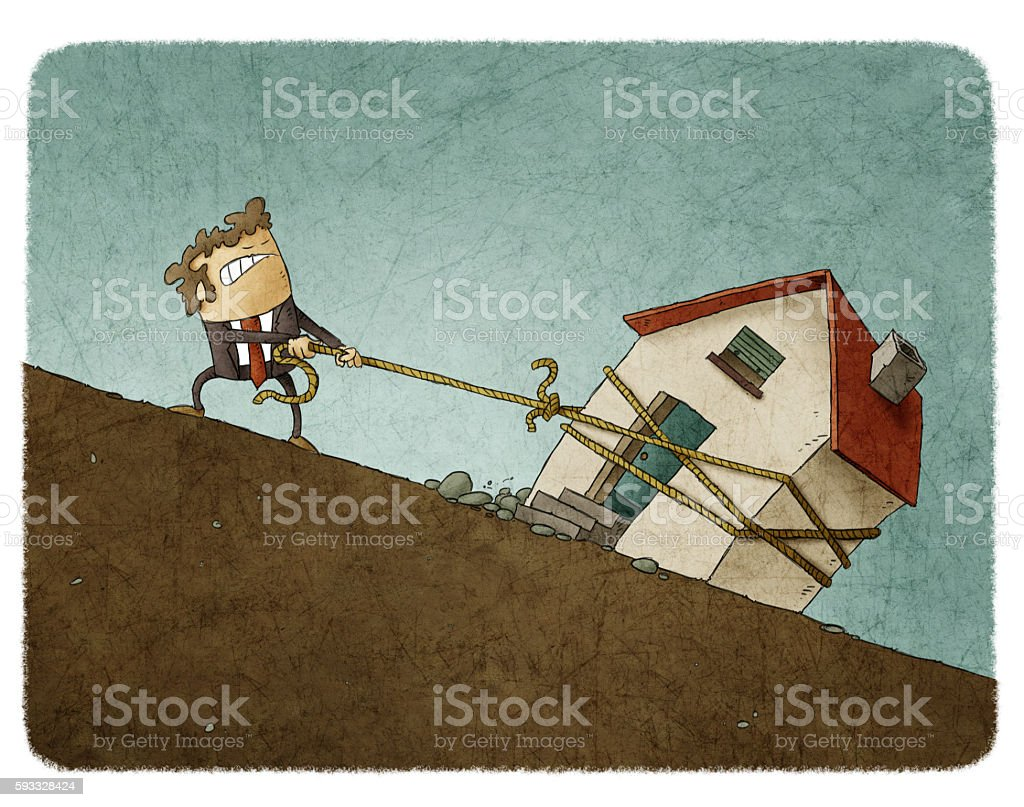Businessman pulling up his house along the slope vector art illustration