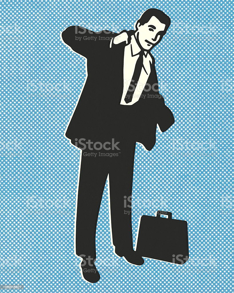 Businessman Putting on a Coat royalty-free stock vector art