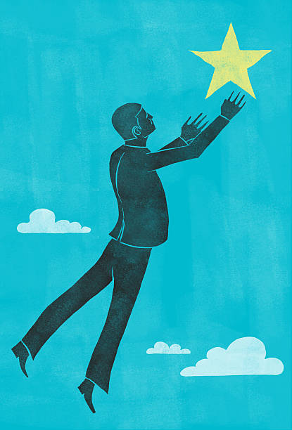 Businessman reaching for a star Businessman reaching for a star RETROROCKET stock illustrations