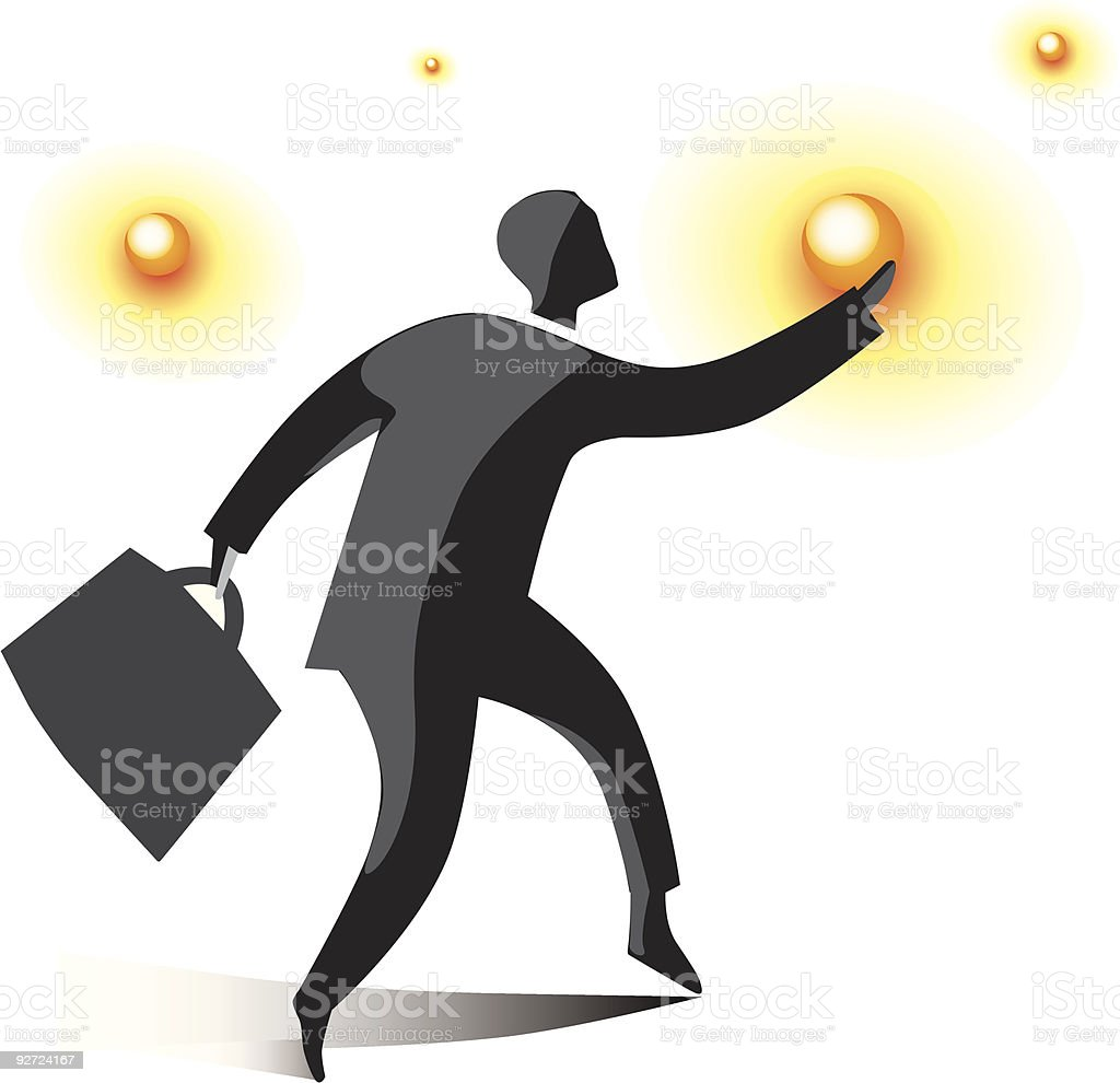 Businessman reaching for the suns royalty-free stock vector art